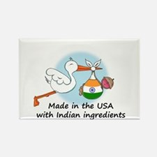 Stork Baby India USA Rectangle Magnet