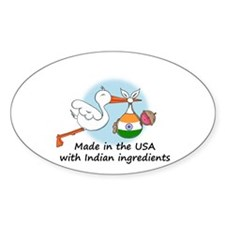 Stork Baby India USA Oval Decal