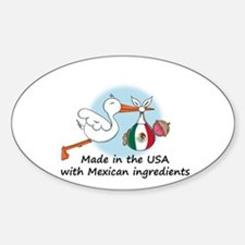 Stork Baby Mexico USA Oval Decal