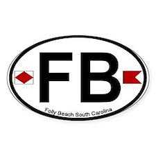Folly Beach - Oval Design Oval Decal