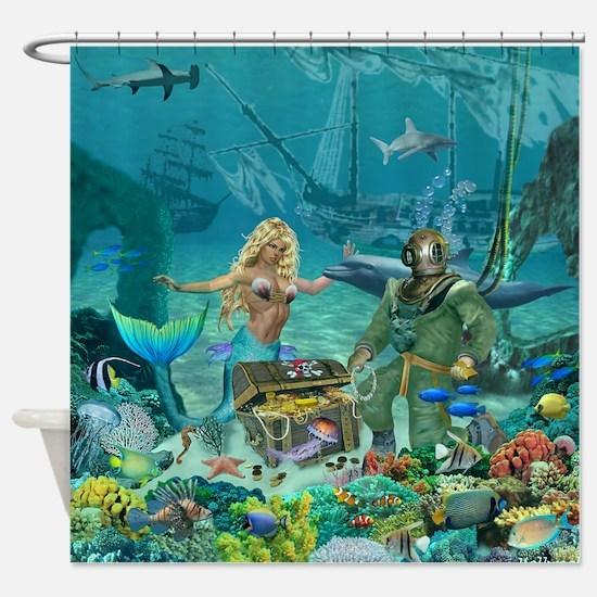 Mermaid's Coral Reef Treasure Shower Curtain