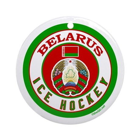 BY Belarus/Bielarus Ice Hockey Ornament (Round)