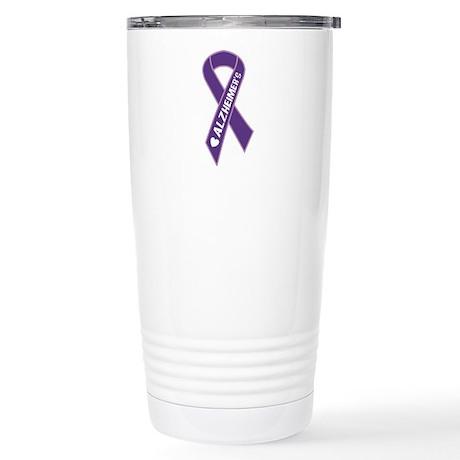 Purple Alzheimer's Ribbon Stainless Steel Travel M
