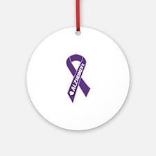 Purple Alzheimer's Ribbon Ornament (Round)