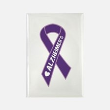 Purple Alzheimer's Ribbon Rectangle Magnet