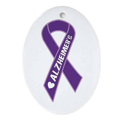 Purple Alzheimer's Ribbon Oval Ornament