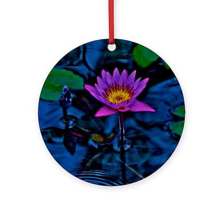 Blue Ruben's Waterlily Ornament (Round)
