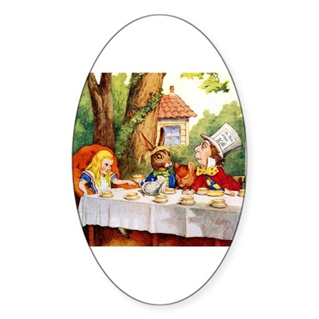MAD HATTER'S TEA PARTY Oval Sticker