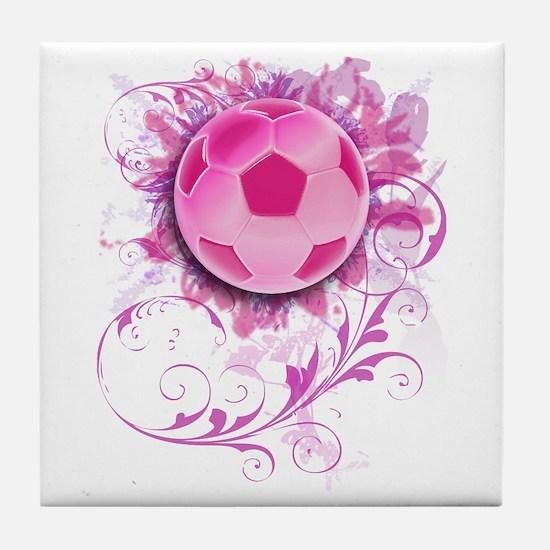 Womens Grunge Floral Soccer Tile Coaster