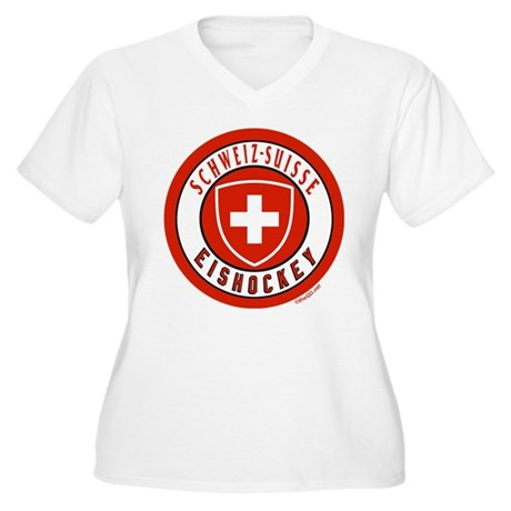 Switzerland Ice Hockey Women's Plus Size V-Neck T-