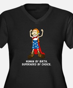 Superhero Girl Women's Plus Size V-Neck Dark T-Shi