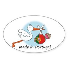Stork Baby Portugal Oval Decal