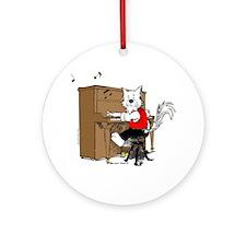 Piano Cat Ornament (Round)