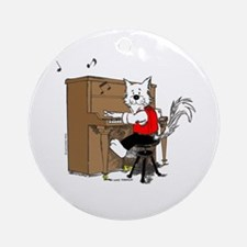 Piano Cat Ornament (Round)