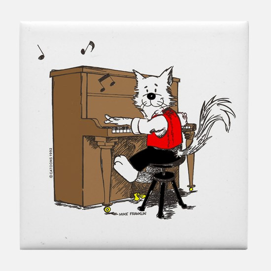 Piano Cat Tile Coaster