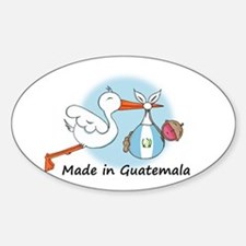 Stork Baby Guatemala Oval Decal