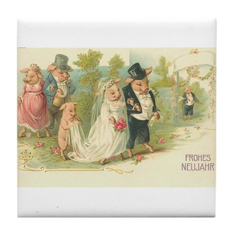 Pig Wedding Vintage German Art Tile Coaster
