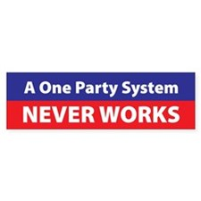 One Party Bumper Bumper Sticker