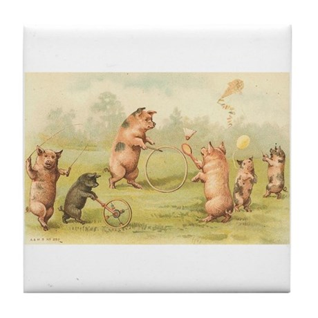 Playful Pigs Vintage Art Tile Coaster