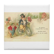 Suitor Pig on Bike French Art Tile Coaster