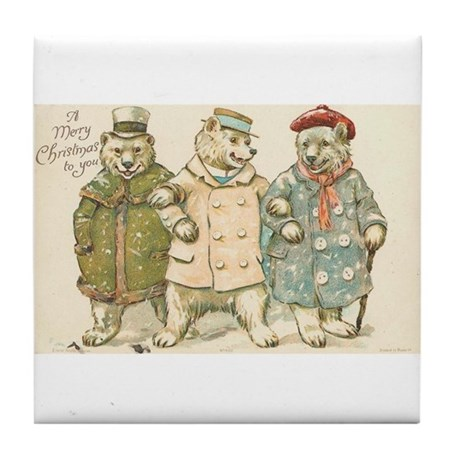 Bear Trio Christmas Greetings Art Tile Coaster