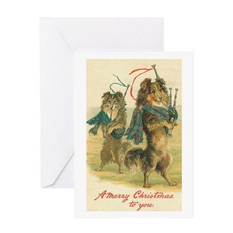 Collies Playing Bagpipes Vintage Art Greeting Card
