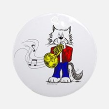 French Horn Cat Ornament (Round)