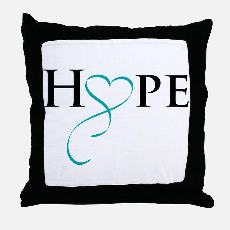 Cute Teal ribbon Throw Pillow