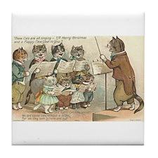 Cats Choral Society Vintage Art Tile Coaster