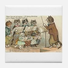 Cats Choral Society Vintage Art Tile Coaster