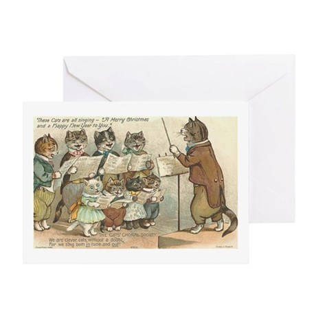 Cats Choral Society Vintage Art Greeting Card