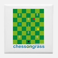 Chess On Grass Croquet Tile Coaster
