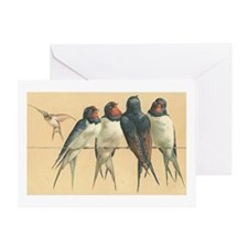 Swallows Birds Vintage Art Greeting Card