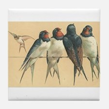 Swallows Birds Vintage Art Tile Coaster