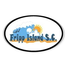 Fripp Island - Waves Design. Oval Decal