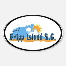 Fripp Island - Waves Design. Oval Decal