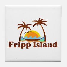 Fripp Island - Sun and Waves Design Tile Coaster