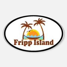 Fripp Island - Sun and Waves Design Oval Decal