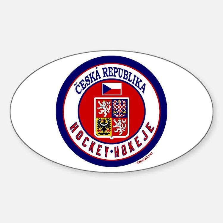 CZ Czech Rep Ice Hockey Oval Decal