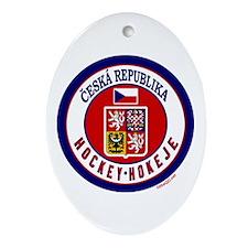 CZ Czech Rep Ice Hockey Oval Ornament