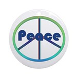 Blue / Green Peace Sign Ornament (Round)