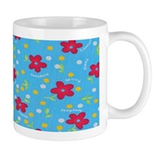 Blue and Red Spring flowers Mug