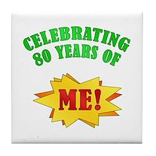Funny Attitude 80th Birthday Tile Coaster
