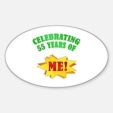 Funny Attitude 55th Birthday Oval Decal