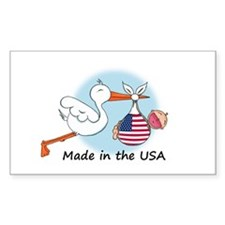 Stork Baby USA Rectangle Decal
