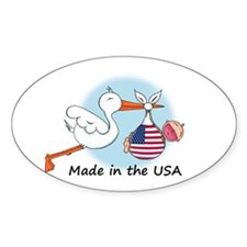 Stork Baby USA Oval Decal
