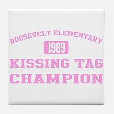 Kissing Tag Champion (pink) Tile Coaster
