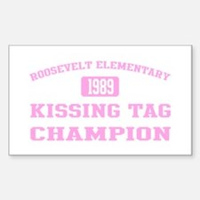 Kissing Tag Champion (pink) Rectangle Decal
