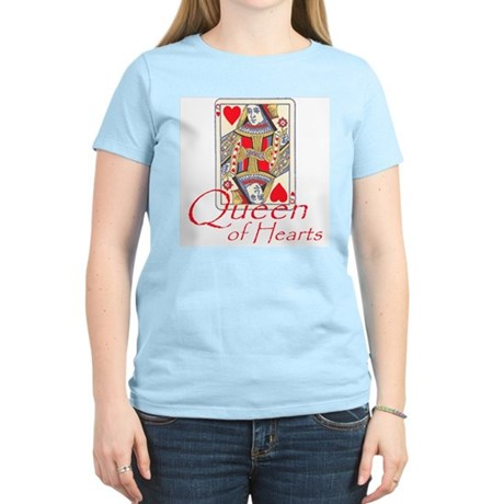 Queen of Hearts playing card Women's Pink T-Shirt
