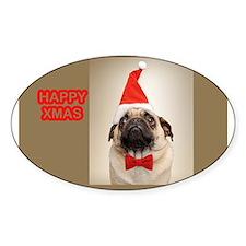 Pug Santa Oval Decal